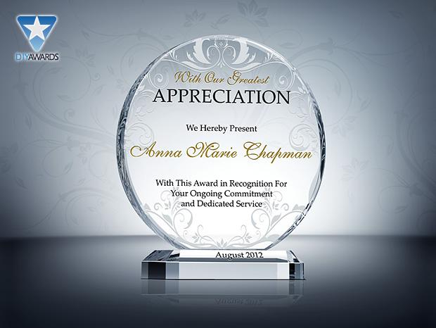 Circle Appreciation Plaque - Etched Crystal Award & Plaque Samples